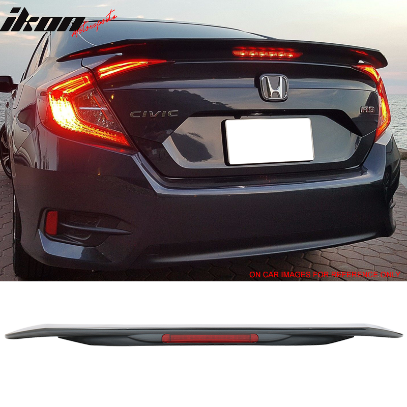 Fits 16-18 Civic X 10th JDM RS SI Style ABS Trunk Spoiler 3RD LED Brake Light