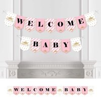 Little Princess Crown - Pink and Gold Princess Baby Shower Bunting Banner - Party Decorations - Welcome Baby