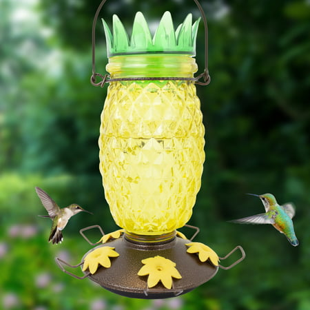 Perky-Pet Pineapple Top-Fill Glass Hummingbird Feeder – 28 oz