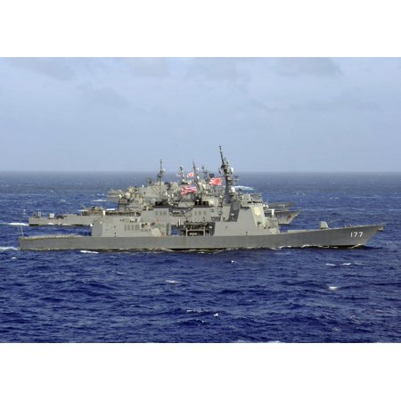 Jds Atago Sails In Formation With Us Navy And Japan Maritime Self Defense Force Ships Canvas Art   Stocktrek Images  34 X 24