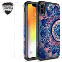 iPhone Xs Max Case With Tempered Glass Screen Protector, KAESAR Slim Hybrid Dual Layer Graphic Fashion Colorful Cover Armor Case for Apple iPhone X S Max (Mandala)