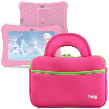 """TabSuit 7"""" Dragon Touch Y88X Plus/Y88X/M7 Kids Tablet, Dragon Touch S7/S8 Tablet Ultra-Portable Neoprene Zipper Carrying Sleeve Case Bag with Accessory Pocket- Pink"""