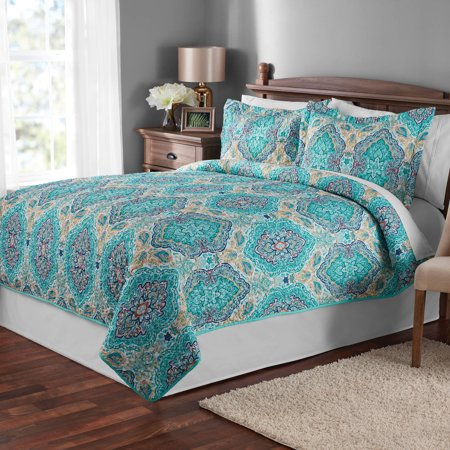 Penelope Quilt Set (Mainstays Multicolor Paisley Quilt & Sham Collection)