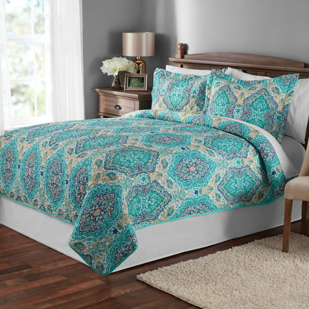 Mainstays Multicolor Paisley Quilt & Sham Collection Boys Queen Quilt Bedding