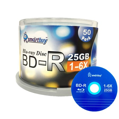Smartbuy 50 Pack Bd R 25Gb 6X Blu Ray Single Layer Recordable Disc Logo Top Blank Data Video Media 50 Disc Spindle