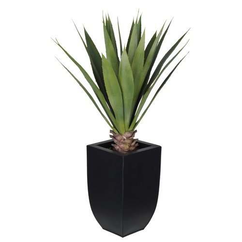 House of Silk Flowers Inc. Artificial Tabletop Yucca Plant in Zinc Vase