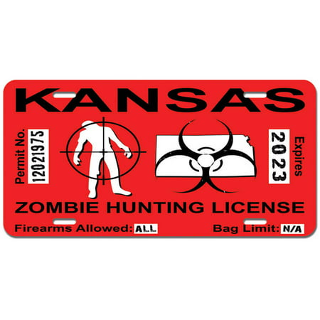 Kansas ks zombie hunting license permit red biohazard for Kansas state fishing license