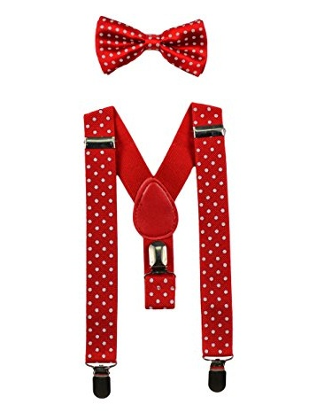 Youth Red with White Polka Dots Adjustable Bow-tie