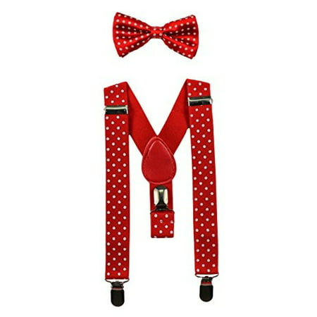 Red White Polkadot Baby Suspenders and Bow Tie Set (Elastic Adjustable-Fits Baby to Toddler) (White Bow Tie And Suspenders)