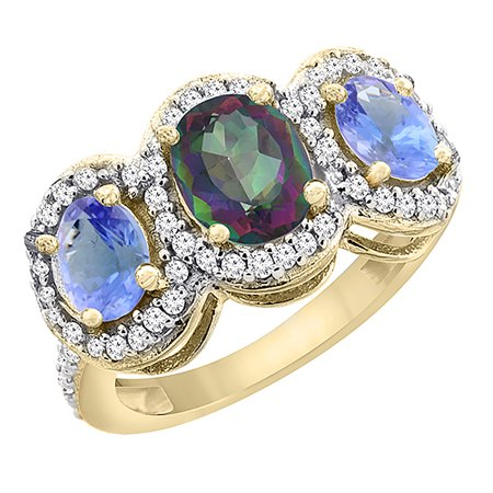 - 14K Yellow Gold Natural Mystic Topaz & Tanzanite 3-Stone Ring Oval Diamond Accent, size 6.5