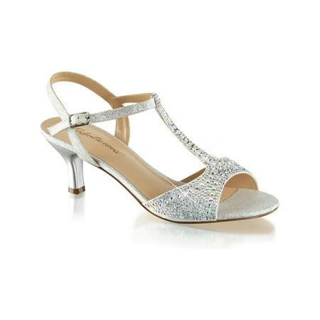 Womens Kitten Heel Wedding Shoes T Strap Sandals Silver Rhinestone 2 1/2 (1/2 Inch Square Heel)