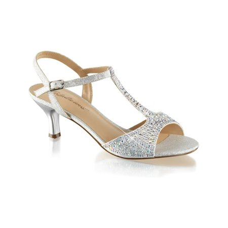 Womens Kitten Heel Wedding Shoes T Strap Sandals Silver Rhinestone 2 1/2 Inch (2 Wedding Shoes)