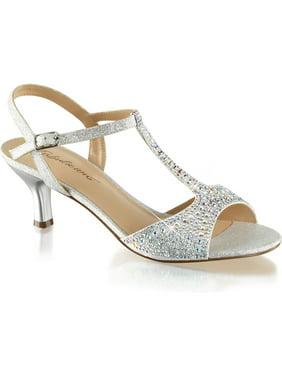 f16f1d31aa6 Product Image Womens Kitten Heel Wedding Shoes T Strap Sandals Silver  Rhinestone 2 1 2 Inch. SummitFashions