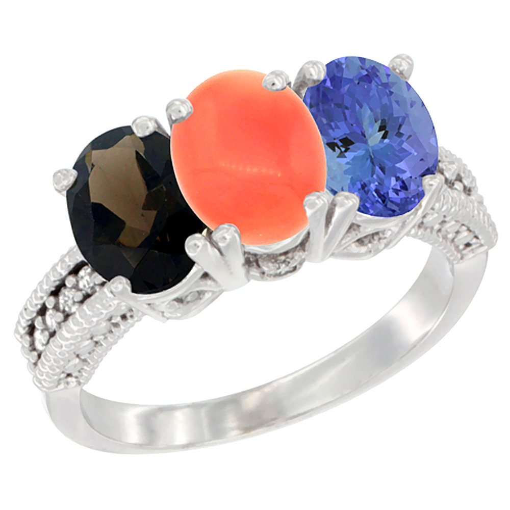 10K White Gold Natural Smoky Topaz, Coral & Tanzanite Ring 3-Stone Oval 7x5 mm Diamond Accent, sizes 5 10 by WorldJewels