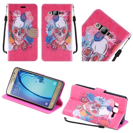 For Samsung Galaxy On5 PU Leather Bling Flip Credit Card Design Wallet - Fashion Skull Flowers Day of the Dead