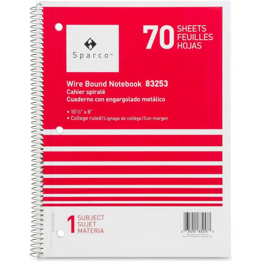 Sparco Quality Wirebound 1-Subject Notebook, Assorted Colors