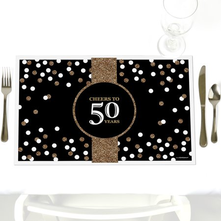 Adult 50th Birthday - Party Table Decorations – Gold Birthday Party Placemats - Set of 12