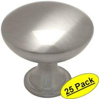"Cosmas 5305SN Satin Nickel Traditional Round Solid Cabinet Hardware Knob - 1-1/4"" Diameter - 25 Pack"