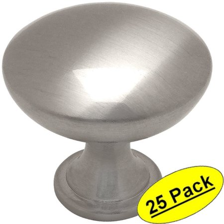 "Cosmas 5305SN Satin Nickel Traditional Round Solid Cabinet Hardware Knob - 1-1/4"" Diameter - 25 Pack"