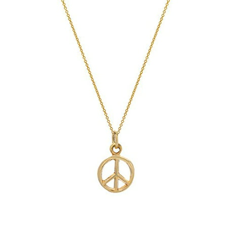14 Karat Yellow Gold Peace Sign Pendant Necklace, 18