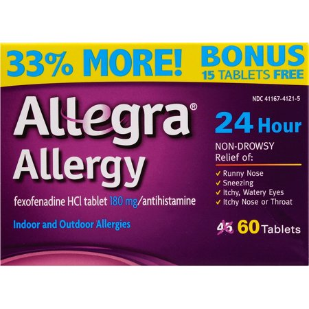 Image of Allegra Allergy 24 Hour Indoor and Outdoor Allergies Tablets, 180mg, 60 count