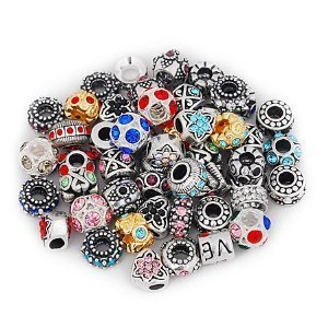 - Five (5) Pack of Assorted Antique Silver Tone And Crystal Rhinestone Charm Beads. Fits Troll, Biagi, Zable, Chamilia, And Many More Charm Bracelets.