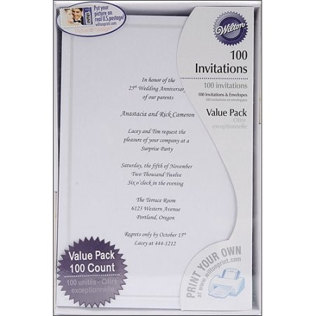 Wilton Single Border All-Purpose Invitation, White, 100 Ct