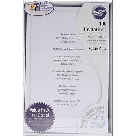 Wilton Single Border All-Purpose Invitation, White, 100 - Wilton Invitations
