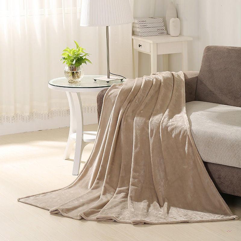 "GHP 1-Pc 90""x90"" Queen Size Tan Soft Fleece Warm Comfortable Throw Blanket"