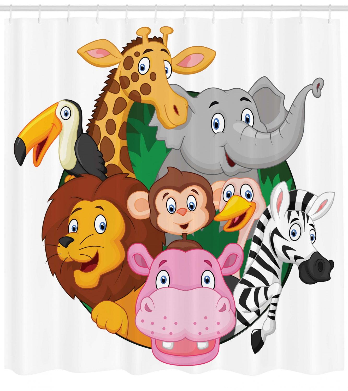 Cartoon Decor Shower Curtain Set Exotic Safari Animals All Together Comic Creature With Zebra And Elephant Friend Trek Sketch Bathroom Accessories 69w X 70l Inches By Ambesonne Walmart Com Walmart Com