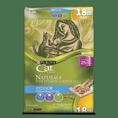 Purina Cat Chow Naturals Indoor Plus Vitamins & Minerals Adult Dry Cat Food, 18 lb - Walmart.com