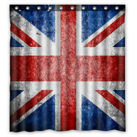 PHFZK British Flag Shower Curtain, Union Jack Flag Vintage Style Polyester Fabric Bathroom Shower Curtain 66x72 - Shower Wall Union
