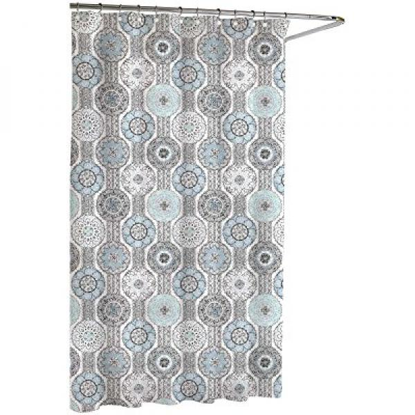 Kassatex Urban Tiles Shower Curtain Bluegrey 72 By 72 Inch