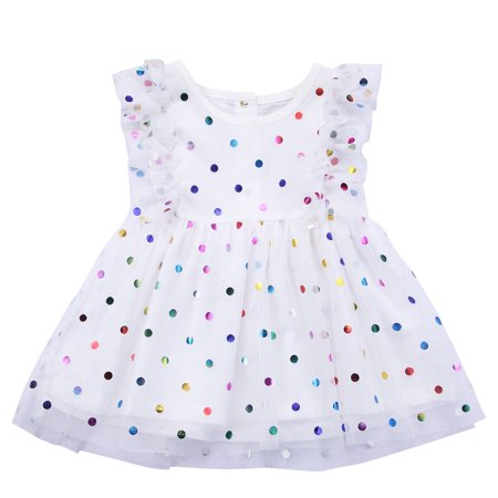 Lace Ruffle Dress Toddler (Toddler Infant Baby Girl Sequins Dots Lace Ruffle Sleeveless Tutu Mini)