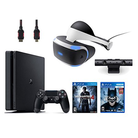 PlayStation VR Bundle 4 Items:VR Headset,Playstation Camera,PlayStation 4 Slim 500GB Console - Uncharted 4,VR Game Disc Arkham VR