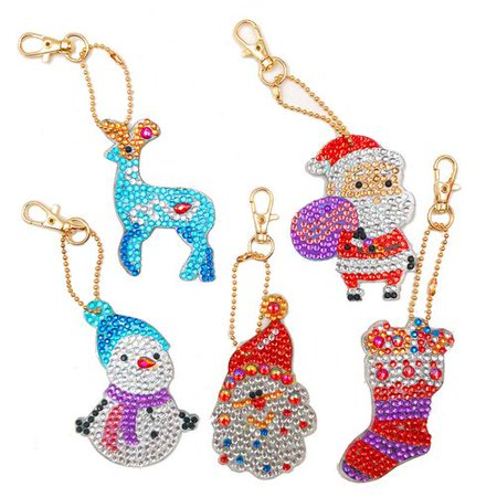 Fancyleo 5X Christmas DIY Resin Rhinestone Painting Keychain Children DIY Keychain Pendant Craft Keychain Including Santa Claus, Snowman, Elk and Christmas Items ()