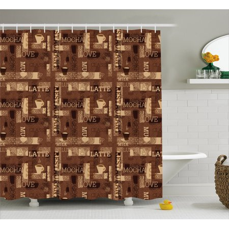 Coffee Shower Curtain Cafeteria Pattern With Hot Mocha Latte Milk Love Typography On Scribble Backdrop Fabric Bathroom Set Hooks Brown Beige