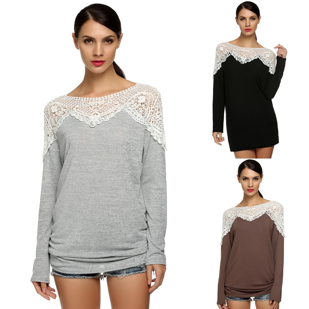 Meaneor Women Casual Long Sleeve Lace T-Shirt Sweater Pullover Top Blouse Shirt