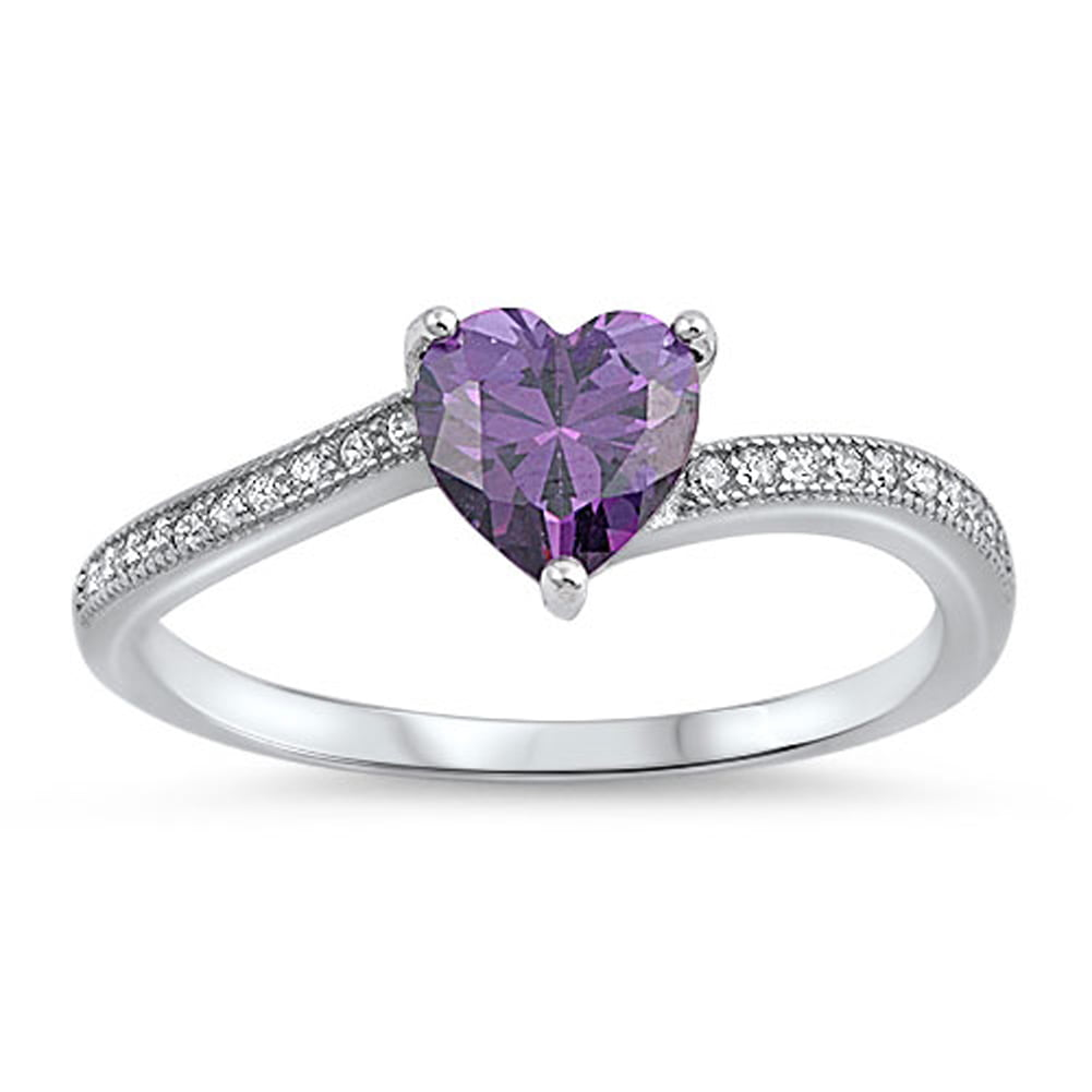 Solitaire Simulated Amethyst Heart Promise Ring ( Sizes 3 4 5 6 7 8 9 10 ) .925 Sterling Silver Band Rings by Sac Silver... by