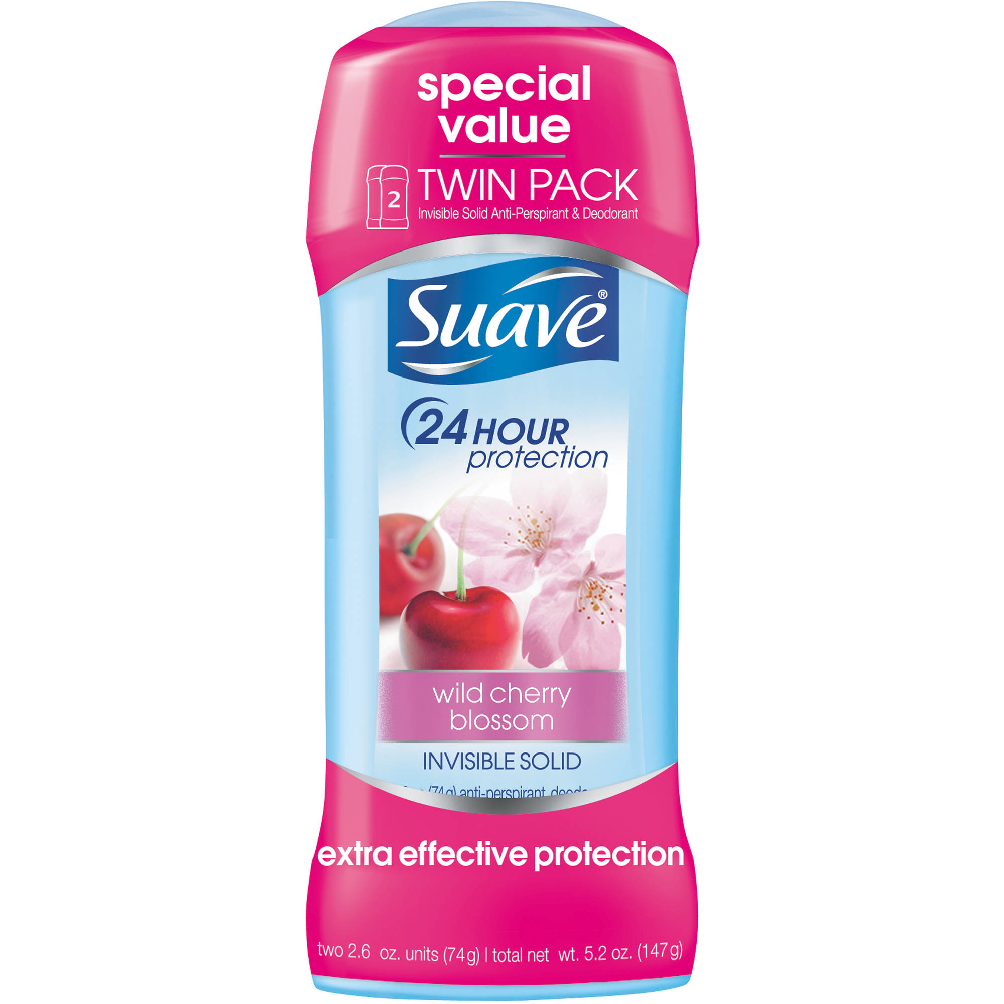 Suave Wild Cherry Blossom Antiperspirant Deodorant, 2.6 oz, Twin Pack