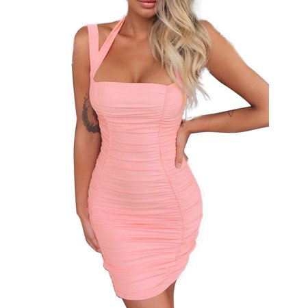 Women's Backless Bodycon Strappy Halter Neck Stretchy Mini Short Dresses