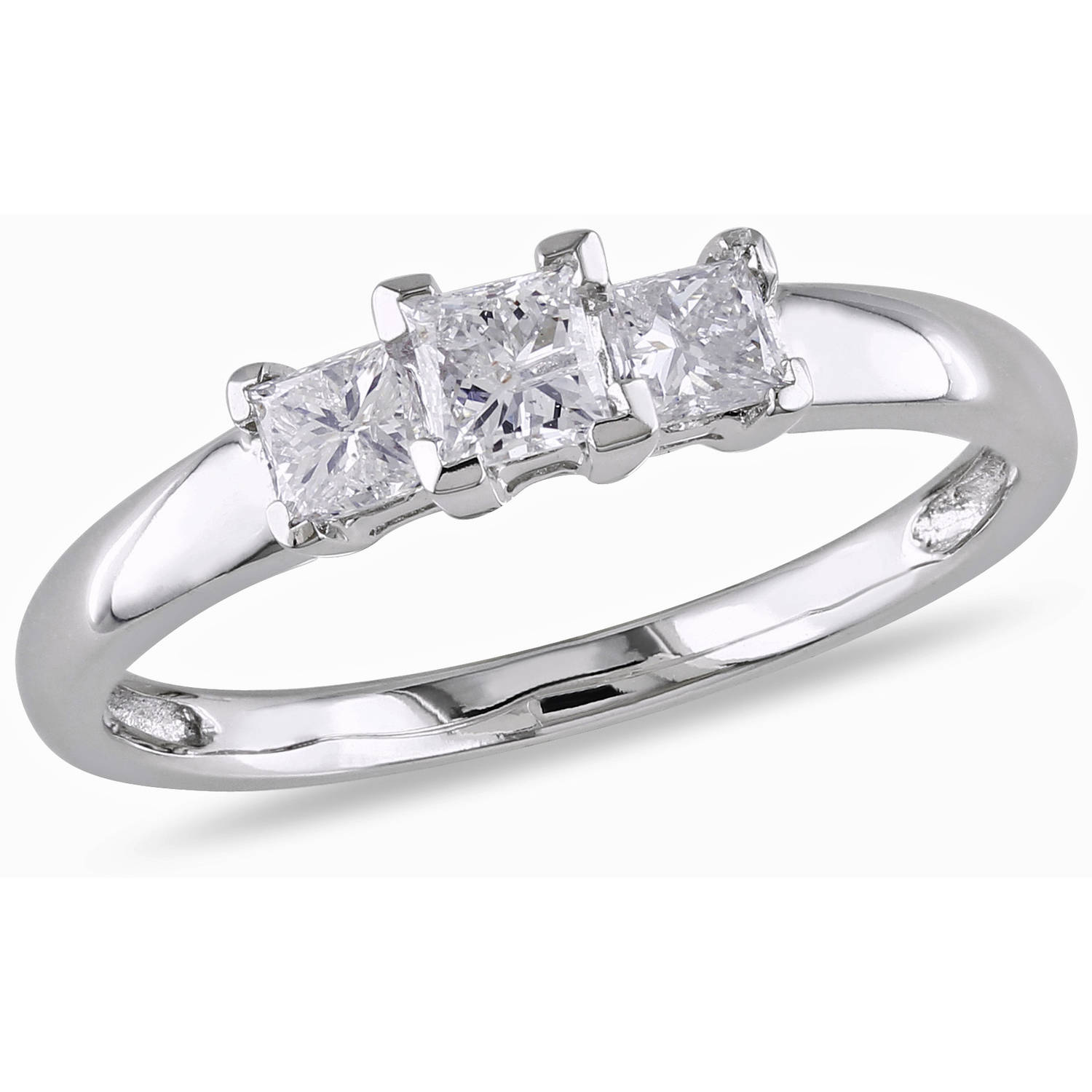 Miabella 1/2 Carat T.W. Princess-Cut Certified Diamond Three Stone 14kt White Gold Engagement Ring