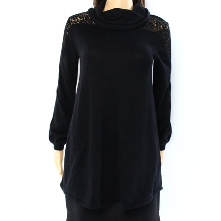 301d6209588 Style   Co. NEW Black Womens Size Small PS Petite Cowl Neck Lace Sweater -  Walmart.com