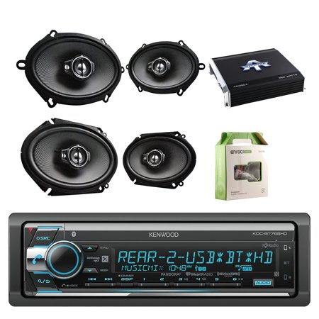Kenwood Single Din Cd Am Fm Car Audio Receiver With Bluetooth W Kenwood Performance Series 5 7   Speakers Pair  Kenwood Performance Series 6 8   Speaker Black Pair  Autotek Amplifier   Enrock Wiring Kit