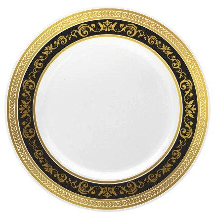 Posh Setting Hammered Collection Combo Pack China Look White/Silver Plastic Plates(Includes 4 Packs of 10 Plates 20 10.25'' Dinner Plates and 20 7.25'' Salad Plates) Fancy Disposable Dinner ()