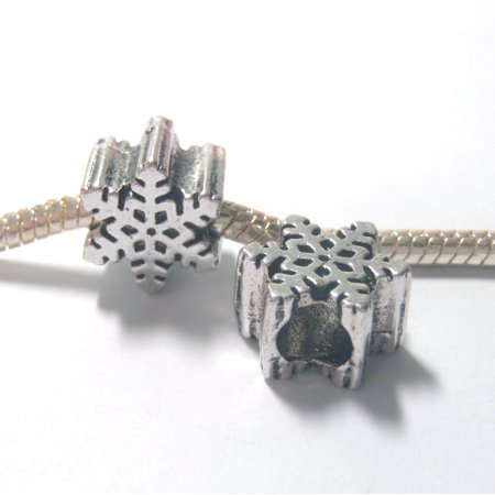 3 Beads - Snowflake Winter Christmas Frozen Silver European Bead Charm E1325