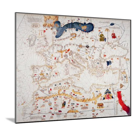 Copy of Catalan Map of Europe, North Africa and the Middle East Wood Mounted Print Wall Art By Abraham (Map Of Europe Middle East And North Africa)