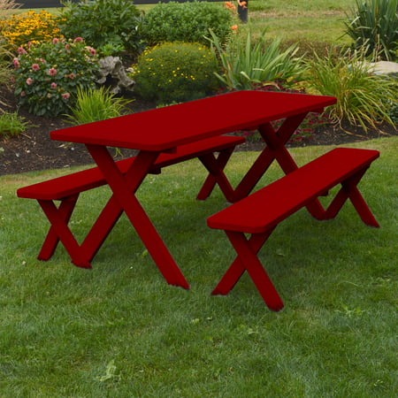 Incredible A L Furniture Western Red Cedar Crossleg Picnic Table With 2 Benches Customarchery Wood Chair Design Ideas Customarcherynet