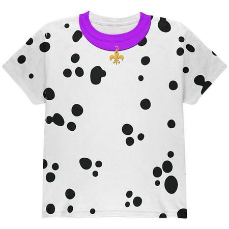 Halloween Dog Dalmatian Costume Purple Collar Fleur De Lis All Over Youth T Shirt - Modele De Halloween