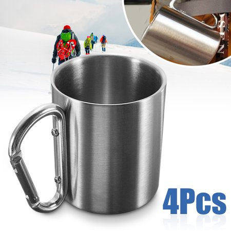 4pcs 220ml Stainless Steel Coffee Mug Outdoor Camping Cup Carabiner Hook Double Wall For Hiking